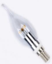 E14, 3W, svíčka zahnutá, teplá bílá, čirá, stmívatelná